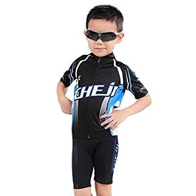 Short Sleeve Cycling Jersey Set for Children Boys' Bike Tops T-Shirts and Shorts Pant with 3D Padded