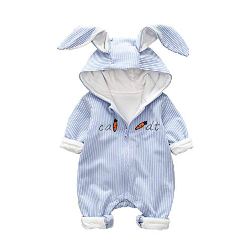 Baby Girl Boy Jumpsuit Cartoon Carrot Printed Striped Hoodie Rabbit Romper with Zipper Outfit (3-6 Months, -