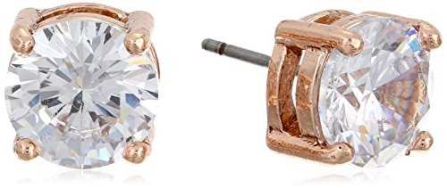 "Anne Klein ""Classic Rose"" Rose Gold-Tone Crystal Stud Earrings"