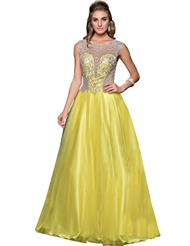 MILANO FORMALS Women's Sheer Cinderella Long Yellow Evening (Sheer Net Long Gown)