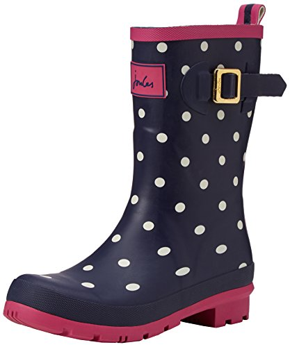 Joules Women's Molly Welly Rain Boot, Navy Spot White, 7 M US