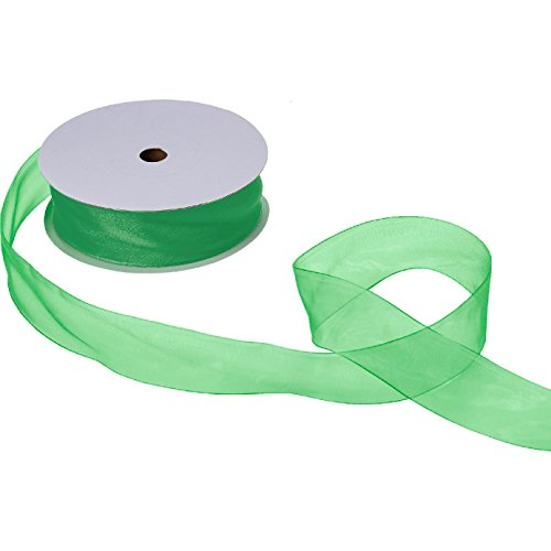 Jillson & Roberts Organdy Sheer Ribbon, 1 1/2'' Wide x 100 Yards, Green by Jillson Roberts