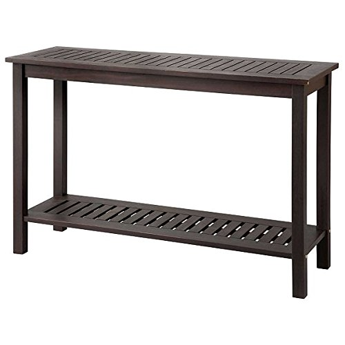 Outdoor Espresso Brown Finish Eucalyptus Hard Wood Console Sofa Table Storage Shelf Patio Furniture (Console Outdoor)