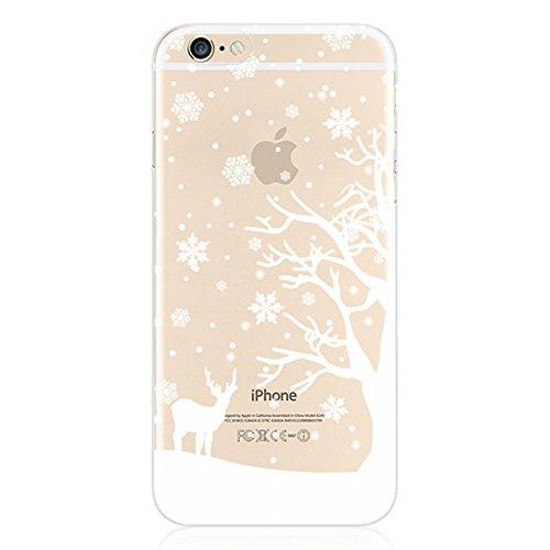D-Trend Handycase Handyhülle Schutzhülle Handytasche Case Back Für iPhone 6 4,7'' Schnee Weihnachten (hirsch)