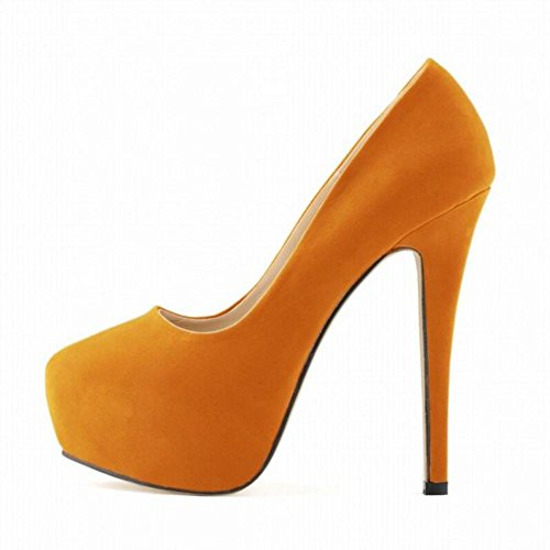 L@YC Mujeres De TacóN alto Discoteca Ultra Elegantes Pies Delgados Novia Super Zapatos Impermeable Plataforma Orange