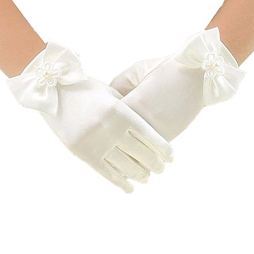 DreamHigh Wedding Flower Girl's Stretch Satin Dress Gloves