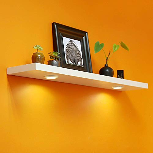 WELLAND Floating Wall Shelf with Battery Powered Touch Activated LED Light, 48-inch, White