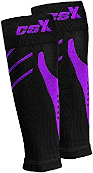 Csx, 15-20 Mmhg Compression Sleeve for Men and Women, Leg Calf Support, Athletic Sport Fit, 1 Count, Purple On