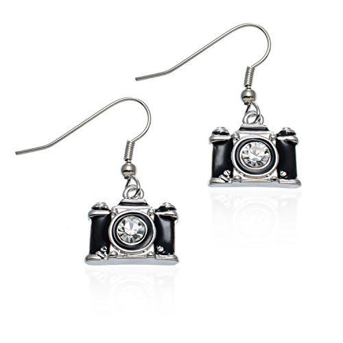 PammyJ Camera Jewelry For Photographers - Black Camera Earrings For Gifts