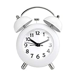 Pilife 4 Vintage Alarm Clock for Kids,Loud Twin Bell Alarm Clocks for Heavy Sleepers , Silent , Non-ticking for Bedrooms , Battery Operated (White)
