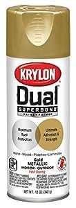 Krylon K08845001 Dual Superbond Paint + Primer Metallic Finish, Gold, Gloss, 12 ounce