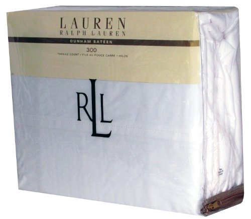 Lauren Ralph Lauren 3 Piece Twin Dunham Sateen Cotton Sheet Set Solid White