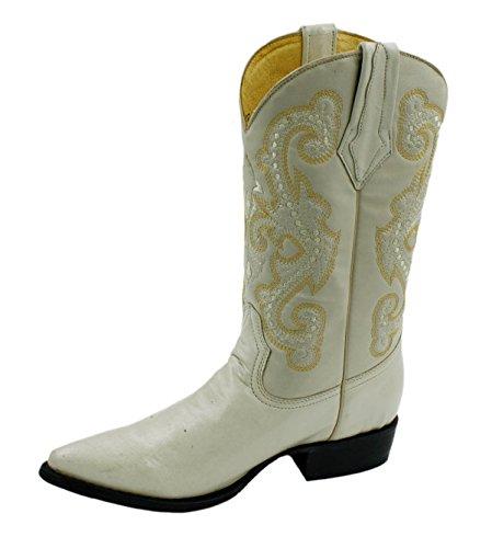 Cowboystövlar Äkta Läder Cowboy Handgjorda Lyxiga Stövlar Beige