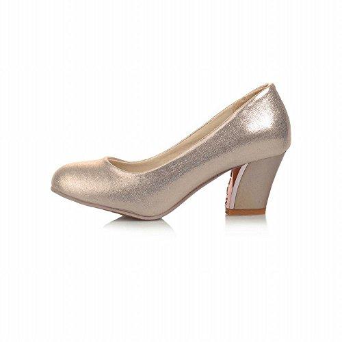 Latasa Dames Eenvoudige Glitter Ronde Neus Halfhoge Pumps Schoenen Goud