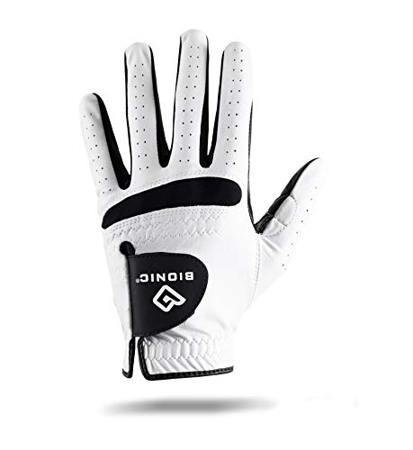 (Bionic Men's RelaxGrip Left Hand Golf Glove, White/Black, Large)
