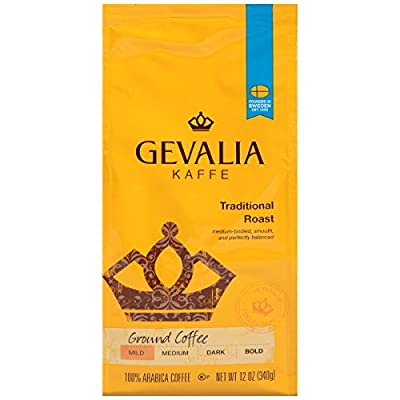 GEVALIA Traditional Blend Coffee, Ground, 12 Ounce, 6 Pack