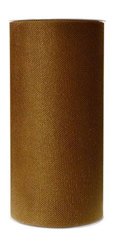 Ribbon Bazaar Gala Sparkle Tulle 6 inch Antique Gold 25 yards 100% Polyester Ribbon (Antique Gold Tulle)