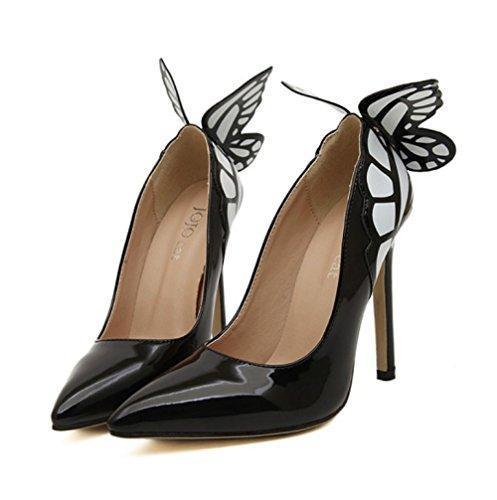 ZPFME Femmes Escarpins Bout Fermé Ailes De Papillon Haut Talon Stiletto Slip-On Soirée Court Chaussures De Mariage Black cioRcm
