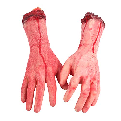 EasGear Terror Severed Bloody Fake Arms Hands for Halloween Party and Cosplay, Haunted House Halloween Decorations,2-Pieces (Left and Right) ()