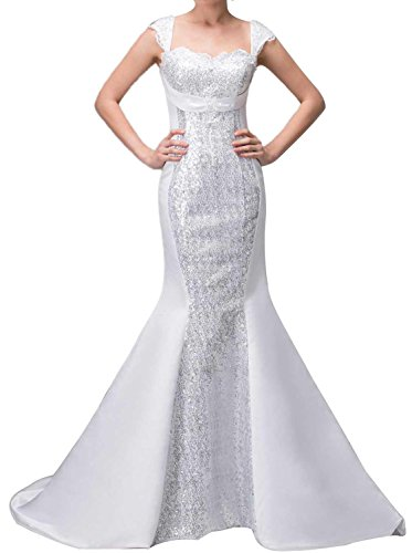 Albizia Sequins Satin Square Trumpet Dropped Waist Wedding (Dropped Waist Wedding Dress)