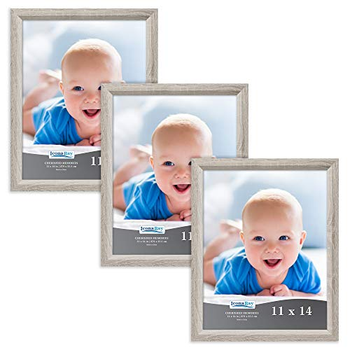 Icona Bay 11x14 Picture Frame (3 Pack, Heritage Gray Wood Finish), Gray Photo Frame 11 x 14, Composite Wood Frame for Walls or Tables, Set of 3 Cherished Memories Collection