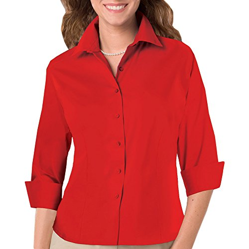 - Blue Generation BG6330 - LADIES 3/4 SLEEVE FINE LINE TWILL (3XL, Red)