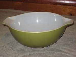 """Vintage 1960's Pyrex """" Verde """" Olive Green 2 1/2 Quart Cinderella Mixing Batter Nesting Bowl"""