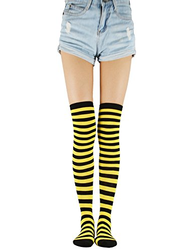 - Over The Knee High Striped Socks Elegant Casual Girls Boot Tights Thigh High Long Athlete Stockings For Womens Yellow Black Thin Stripe