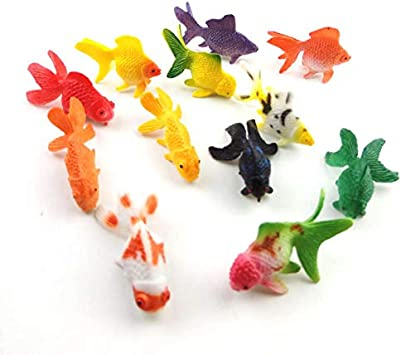 lovemmm 12 Pcs Animal Models Goldfish Home Decoration Cake Topper Action Figures