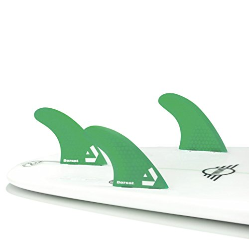 Dorsal Surfboard Fins Hexcore Thruster Set (3) Honeycomb FCS Base Green by Dorsal