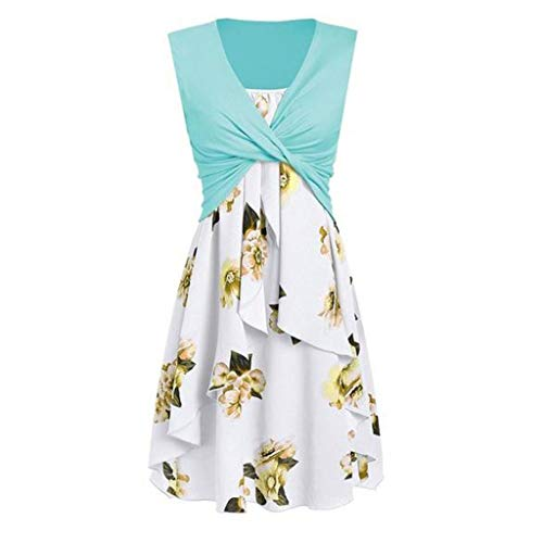 Sunhusing Women's Solid Color Pleated Knotted Sleeveless Vest Flower Print Sling Irregular Hem Dress Set Light ()