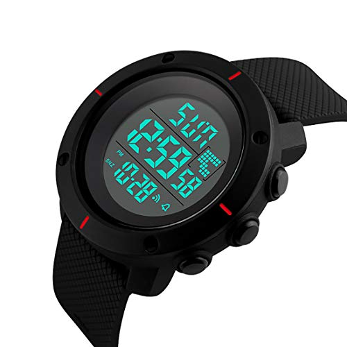 Men's Sports Digital Watch with Military 50M Waterproof,Electronic LED Army Simple Watch with Back Light and Silicone Strap,Stopwatch Alarm-Black