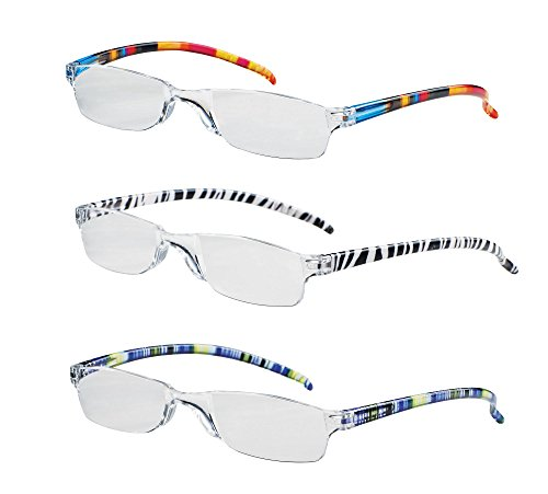 Colorful Reading Glasses - Set of 3 Comfort Readers 1.5 - Chic Zebra