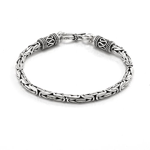 Silverly Womens Mens .925 Sterling Silver Balinese Rope Chain Bracelet, 18.5 - Balinese Silver Bracelet