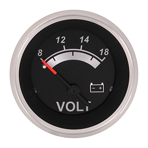 Sierra International 67019P Black Sterling, 12V System Voltmeter, 2