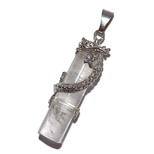 (Steampunkers USA Unchained Power Pack Series - Dragon up Column 42mm Clear Quartz White - Pendant Only - Tribal Ethnic Carved Necklace - Stainless Steel Bail)