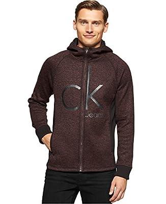 Calvin Klein Jeans Men's Melange Fleece Graphic Printed Logo Hoodie