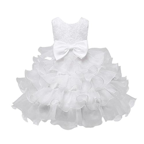 FEITONG Little and Bigger Girls Flower Birthday Wedding Princess Dress Christmas Dress (3Year, White) by FEITONG