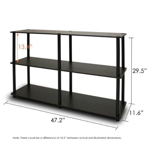 Furinno 99130EX/BK Turn-N-Tube 3-Tier Double Size Storage Display Rack, Espresso/Black