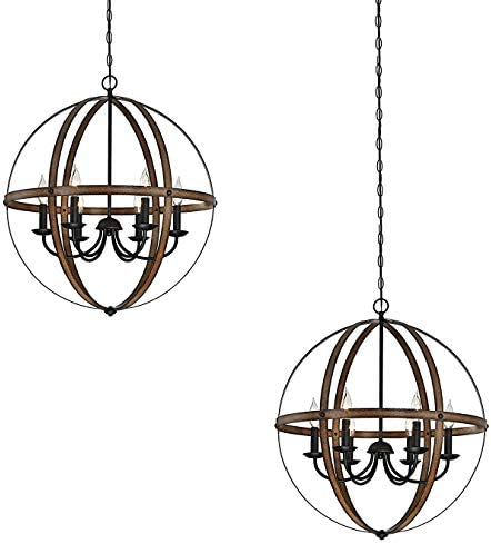 Westinghouse Stella Mira Indoor Chandelier, with Highlights Barnwood and Oil Rubbed Bronze 2 Pack
