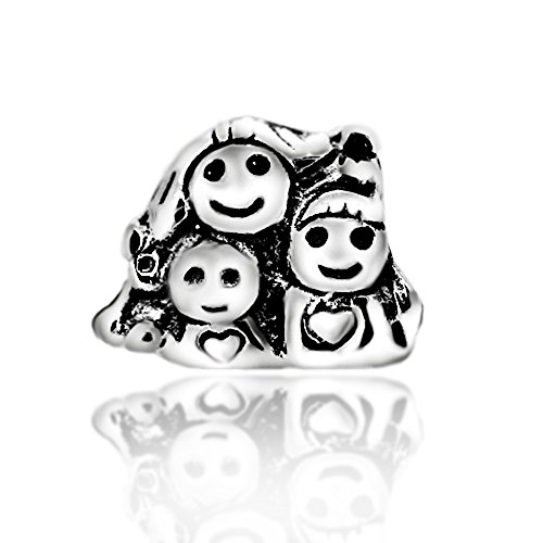 The Kiss Family Member Mother Dad Sister Daughter Boy Girl Aunt 925 Sterling Silver Bead Fits European Charm Bracelet (Mother ()