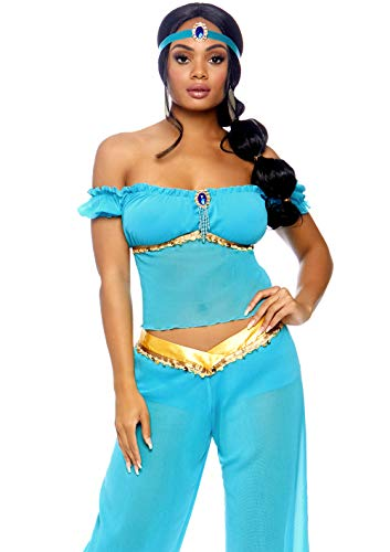 Leg Avenue Women's 3 Piece Arabian Princess Costume, Turquoise, Medium -