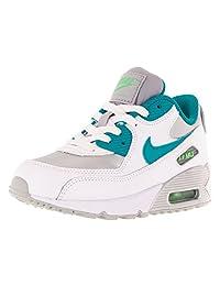 Nike Kids Air Max 90 Ltr (PS) White/Blue Laggon/Mtllc Silver Running Shoe 3 Kids US