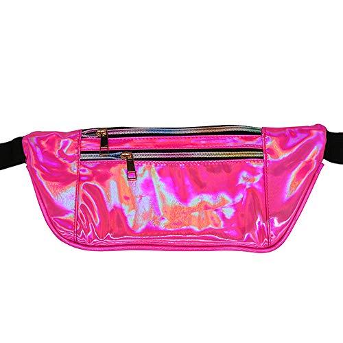 JITALFASH 2019 New Fanny Pack Slim Laser Women Hip Bag PU Shiny Travel Waist Bag for Girls Rose Waist Bag OneSize (Best John Deere Riding Mower 2019)