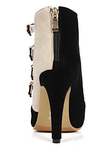 Elastische Dameshoge Stilettohakken Met Contrasterende Suède Suède Sandalen Met Ritssluiting Zwart