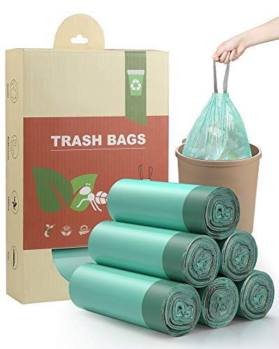 AYOTEE Compostable Trash Bags 4 Gallon Drawstring Trash Bags,100 Counts Ultra Strong Unscented Garbage Bags Small Trash Bags Waste Basket Liners for Bathroom, Kitchen ,Bedroom, Office, Pet, Car