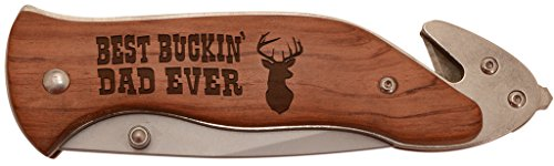 ThisWear Best Buckin' Dad Ever Laser Engraved Stainless Steel Folding Survival Knife