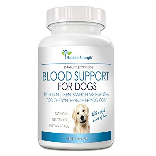 Nutrition Strength Blood Support for Dogs, Supplement for Anemia in Dogs, Promotes Red Blood Cell Health, with a High Level of Iron, Vitamin B12, Organic Spirulina and Purpurea, 120 Chewable Tablets