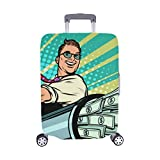 Business Concept Startup Businessmen Pattern Spandex Trolley Case Travel Luggage Protector Suitcase Cover 28.5 X 20.5 Inch