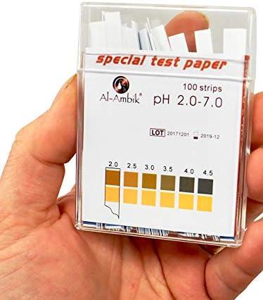 PH 2-7 Al-Ambik/® barre di misurazione PH Indicatori di PH 100 strisce di prova in contenitore di plastica
